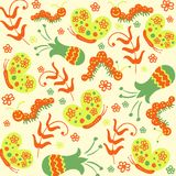 Seamless pattern with butterflies and caterpillars Stock Photography