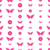 Seamless pattern with butterflies and circles Stock Images