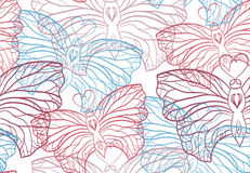 Seamless pattern with butterflies contours Stock Photography