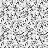 Seamless Pattern, Butterflies Contours Royalty Free Stock Photography