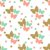 Seamless pattern with butterflies and dots. Can be used for textile, wallpapers, web, greeting cards and scrapbooking design Stock Photo