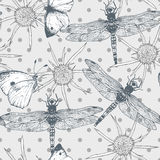 Seamless  pattern with butterflies and Stock Images