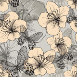 Seamless pattern with butterflies and flowering hibiscus. Vector Royalty Free Stock Photography