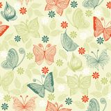 Seamless pattern with butterflies and flowers Stock Photo