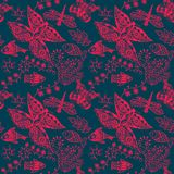 Seamless pattern with butterflies and flowers. Royalty Free Stock Images