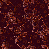 Seamless Pattern, Butterflies and Flowers Stock Images