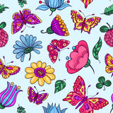 Seamless pattern with butterflies and flowers blue Stock Photos
