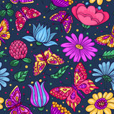 Seamless pattern with butterflies and flowers dark blue Stock Photography