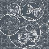 Seamless pattern with butterflies and flowers. Graphic black and white. Vector. stock illustration
