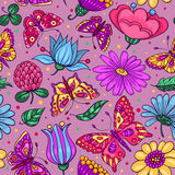 Seamless pattern with butterflies and flowers pink Stock Image