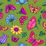 Seamless pattern with butterflies and flowers Stock Photography