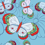 Seamless pattern with butterflies and flowers Royalty Free Stock Images