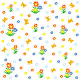 Seamless,pattern butterflies and flowers Royalty Free Stock Photo