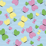 Seamless Pattern with Butterflies. Green, Pink, Yellow Butterfly Stock Image
