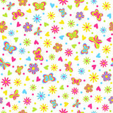 Seamless,pattern.butterflies,hearts and flower Stock Images