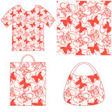 Seamless Pattern, Butterflies and Hearts Stock Images