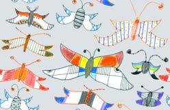 Seamless pattern of butterflies and moths. Hand-dr Stock Photos