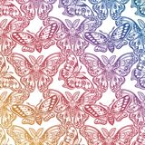 Seamless pattern of butterflies or moths. Repetition background of fantasy style ornate insects. Isolated vector illustration. Magic wallpaper art, coloring vector illustration