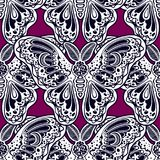 Seamless pattern of butterflies or moths. Repetition background of fantasy style ornate insects. Isolated vector illustration. Magic wallpaper art, coloring stock illustration