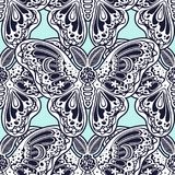 Seamless pattern of butterflies or moths. Repetition background of fantasy style ornate insects. Isolated vector illustration. Magic wallpaper art, coloring royalty free illustration