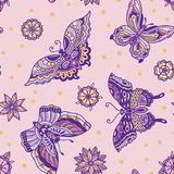 Old school tattoo butterflies and flowers seamless pattern. Seamless pattern with butterflies in old school tattoo style isolated on pink background. Vector art Royalty Free Stock Images