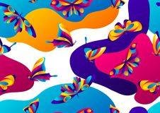 Seamless pattern with butterflies. Colorful bright abstract insects stock illustration
