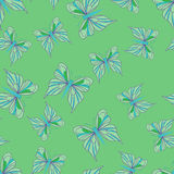 Seamless pattern with butterflies. Summer background. Stock Photo