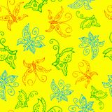 Seamless pattern of butterflies Royalty Free Stock Photo