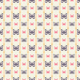 Seamless pattern with butterflies and vertical lines Stock Images