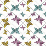 Seamless pattern with butterflies, white background Royalty Free Stock Photo