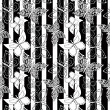 Seamless pattern with butterflies on a white with black in the background Stock Image
