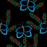 Seamless pattern with butterfly and brunch with berry embroidery Royalty Free Stock Photography