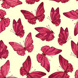 Seamless pattern with butterfly. Cute floral seamless. Kids background for princess. Royalty Free Stock Photos
