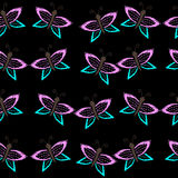 Seamless pattern with butterfly embroidery stitches imitation Stock Image