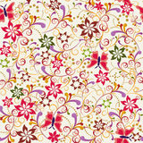 Seamless pattern Butterfly and Flower Stock Photos