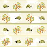 Seamless pattern with butterfly and ladybug Stock Images