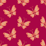 Seamless pattern. Butterfly on a red background. Butterfly on a red background. Seamless pattern stock illustration