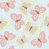 Seamless pattern butterfly. Seamless pattern summer. Butterflies on a blue background Royalty Free Stock Image