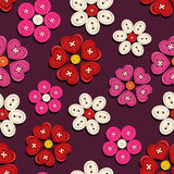 Seamless pattern of button flowers Stock Images