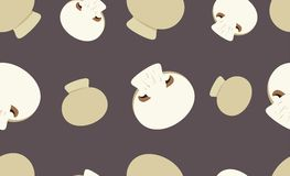 Seamless pattern with button mushrooms. Royalty Free Stock Photography