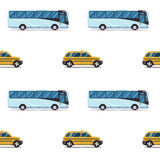 Seamless pattern of the cab and passenger bus. Royalty Free Stock Photography