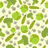 Seamless pattern with cabbage, green peas, broccoli. Eco, bio ba Royalty Free Stock Photos