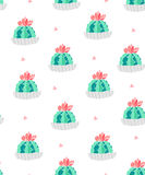 Seamless pattern with cacti in a flowerpots and pink triangles on white background. Ornament for textile and wrapping. Vector.  Royalty Free Stock Images