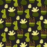 Abstract swirls seamless pattern background with hand drawn curl elements in blue. Seamless pattern with cacti and succulents stock illustration