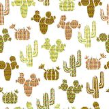 Seamless pattern with, cacti and succulents with tribal ethnic onament . Vector illustration Royalty Free Stock Images