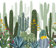 Seamless pattern with cactus, agave, and opuntia. royalty free illustration