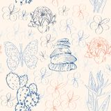 Seamless pattern with cactus, butterflies, flowers Royalty Free Stock Image
