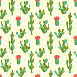 Seamless pattern with cactus Royalty Free Stock Photos