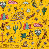 Seamless pattern with cactus, palm trees, ship anchor Royalty Free Stock Images