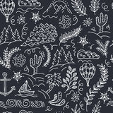 Seamless pattern with cactus, palm trees, ship anchor Royalty Free Stock Photo